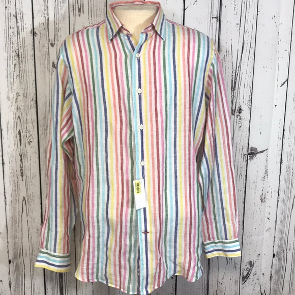 0cc1048d384 Cremieux colorful striped linen Button Down Shirt NWT
